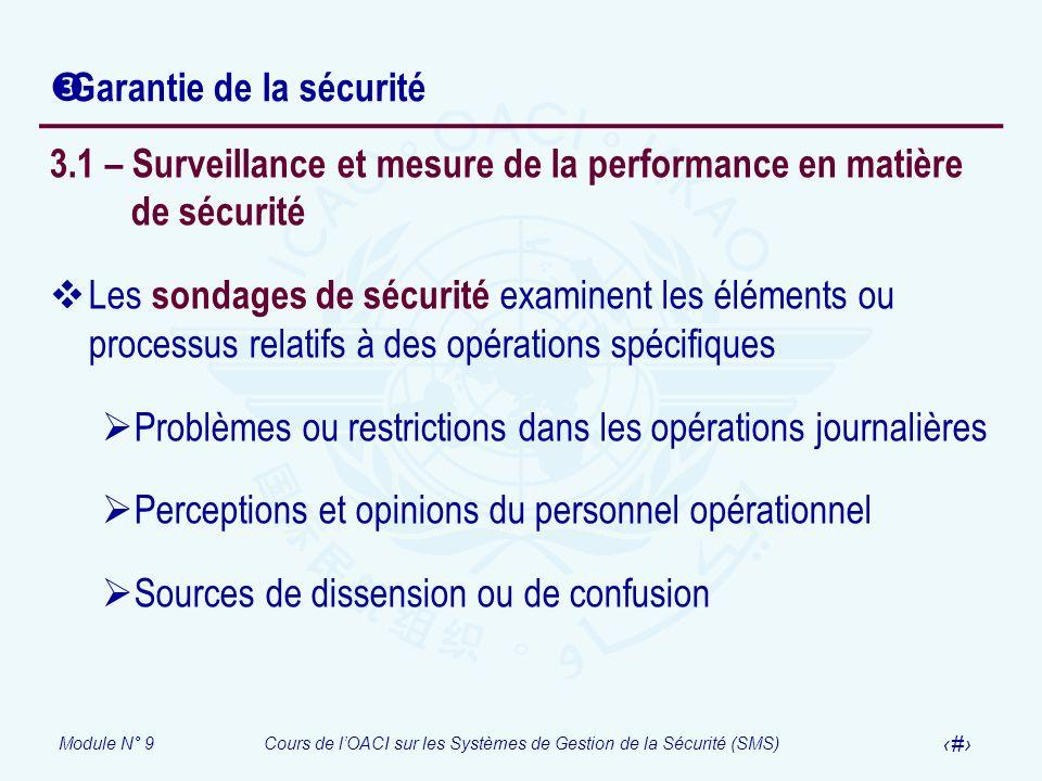 Module N° 9Cours de lOACI sur les Systèmes de Gestion de la Sécurité (SMS) 18 Garantie de la sécurité 3.1 – Surveillance et mesure de la performance e