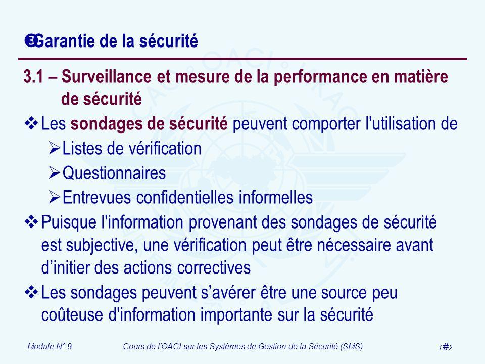 Module N° 9Cours de lOACI sur les Systèmes de Gestion de la Sécurité (SMS) 19 Garantie de la sécurité 3.1 – Surveillance et mesure de la performance e