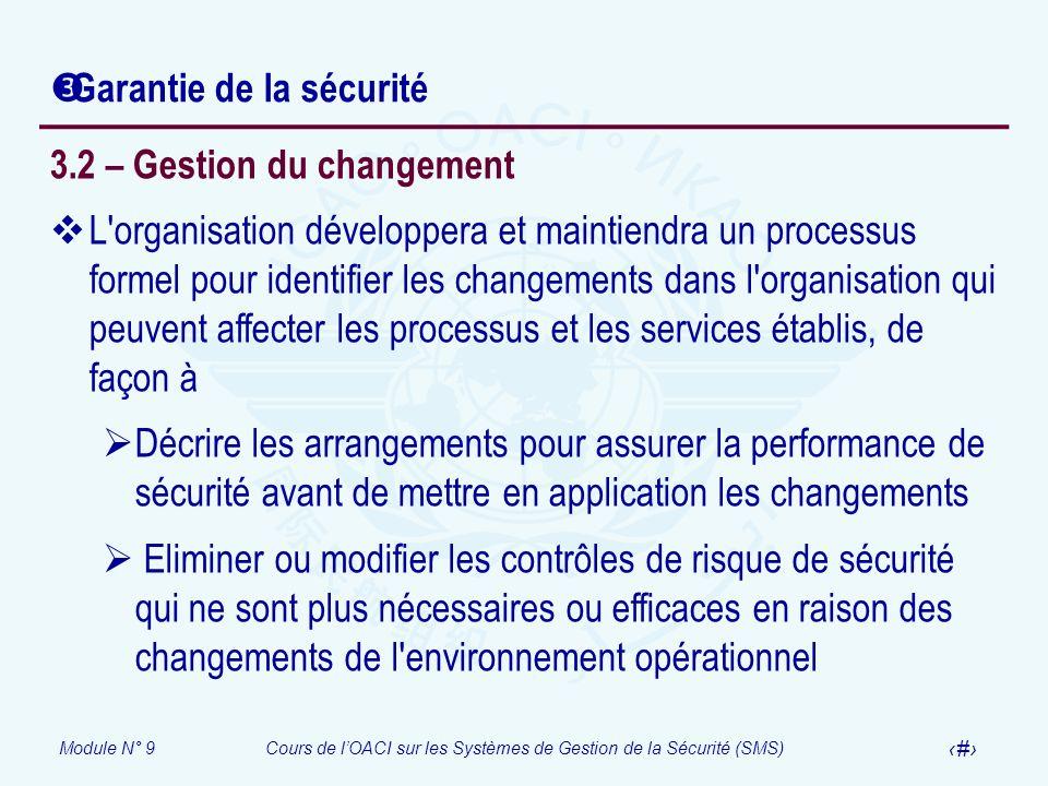 Module N° 9Cours de lOACI sur les Systèmes de Gestion de la Sécurité (SMS) 22 Garantie de la sécurité 3.2 – Gestion du changement L'organisation dével
