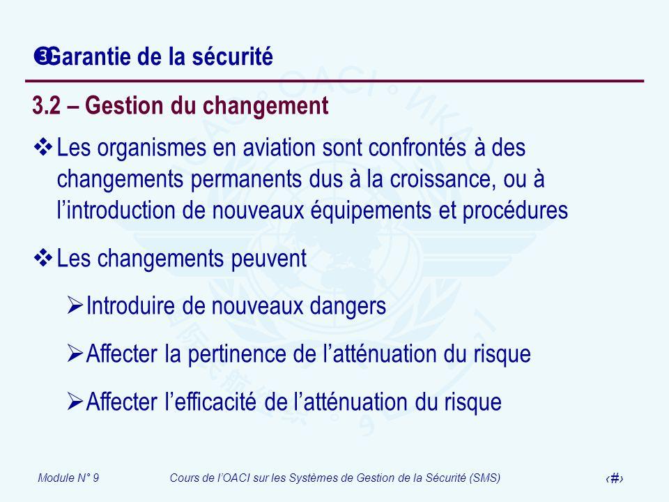 Module N° 9Cours de lOACI sur les Systèmes de Gestion de la Sécurité (SMS) 23 Garantie de la sécurité 3.2 – Gestion du changement Les organismes en av