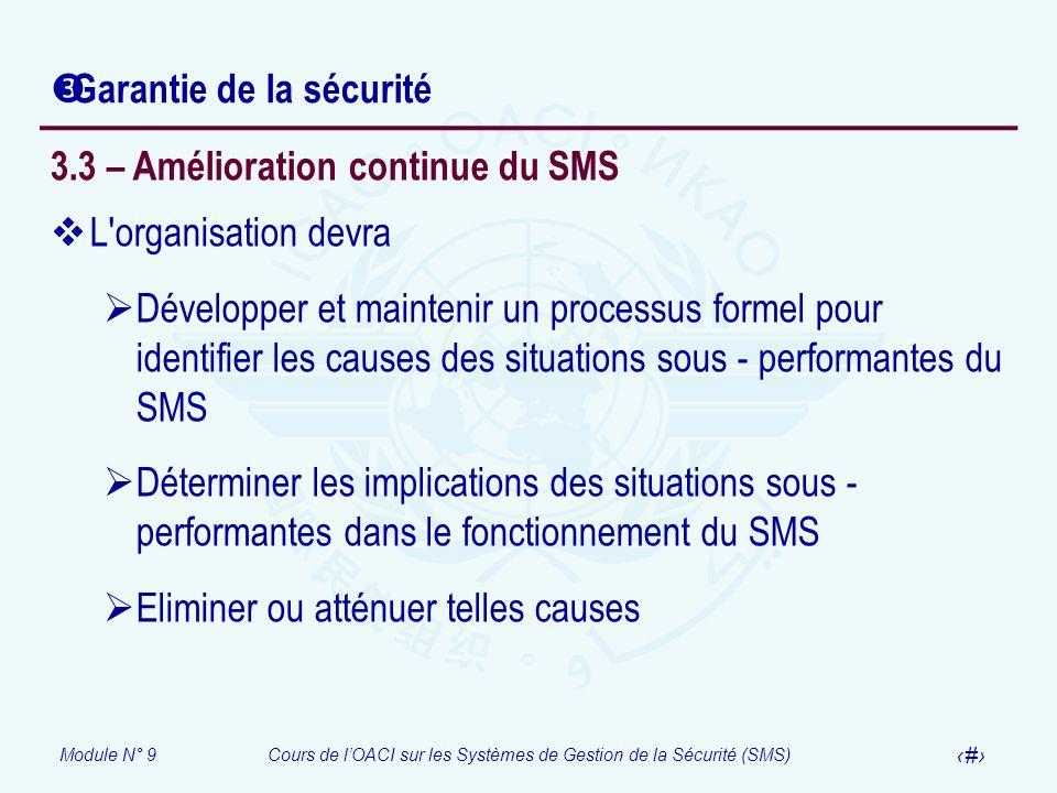 Module N° 9Cours de lOACI sur les Systèmes de Gestion de la Sécurité (SMS) 26 Garantie de la sécurité 3.3 – Amélioration continue du SMS L'organisatio
