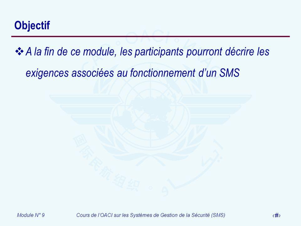 Module N° 9Cours de lOACI sur les Systèmes de Gestion de la Sécurité (SMS) 3 Objectif A la fin de ce module, les participants pourront décrire les exi