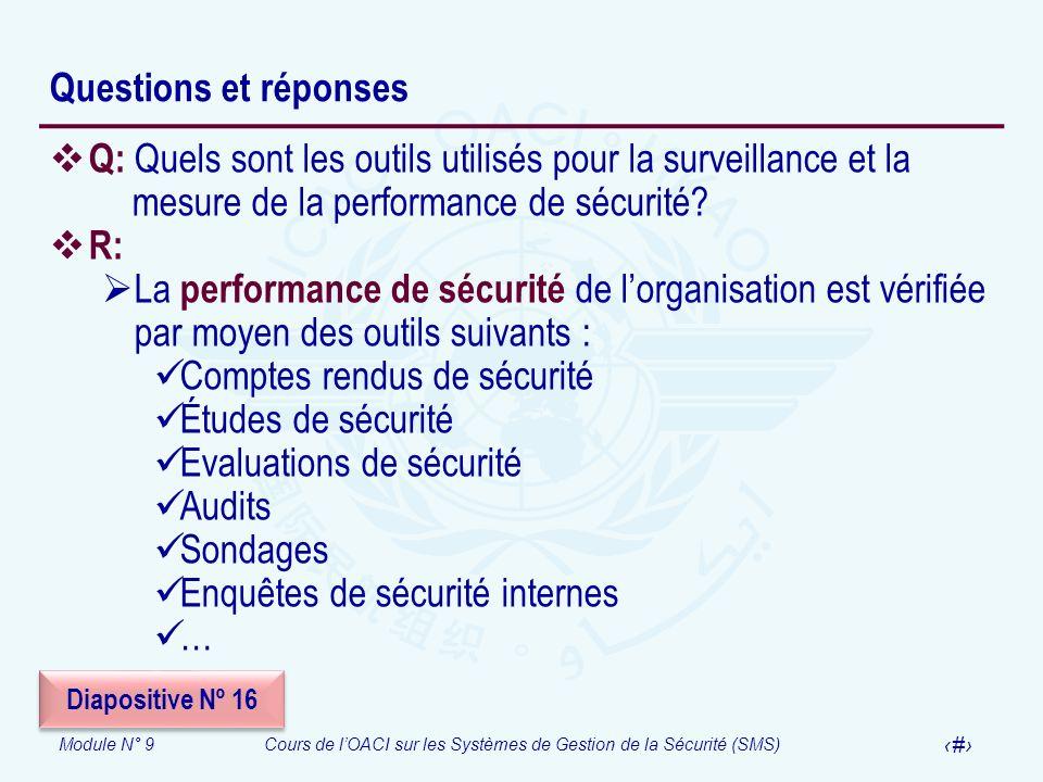 Module N° 9Cours de lOACI sur les Systèmes de Gestion de la Sécurité (SMS) 41 Questions et réponses Q: Quels sont les outils utilisés pour la surveill