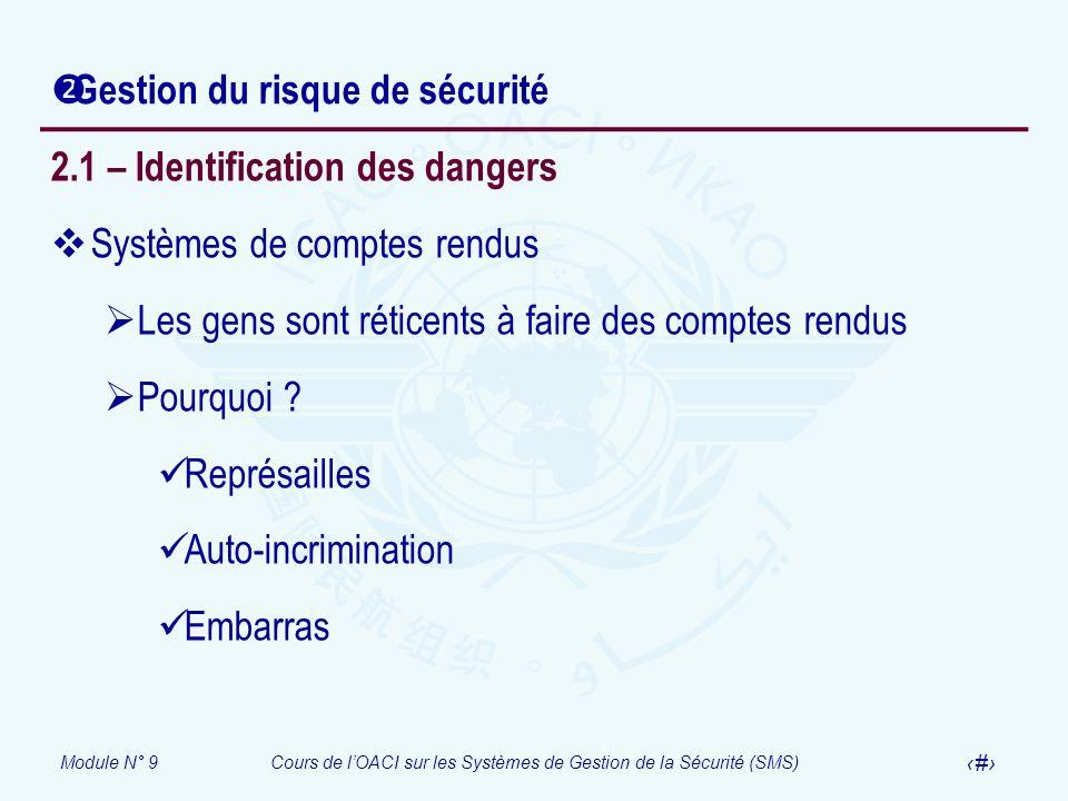 Module N° 9Cours de lOACI sur les Systèmes de Gestion de la Sécurité (SMS) 8 Gestion du risque de sécurité 2.1 – Identification des dangers Systèmes d