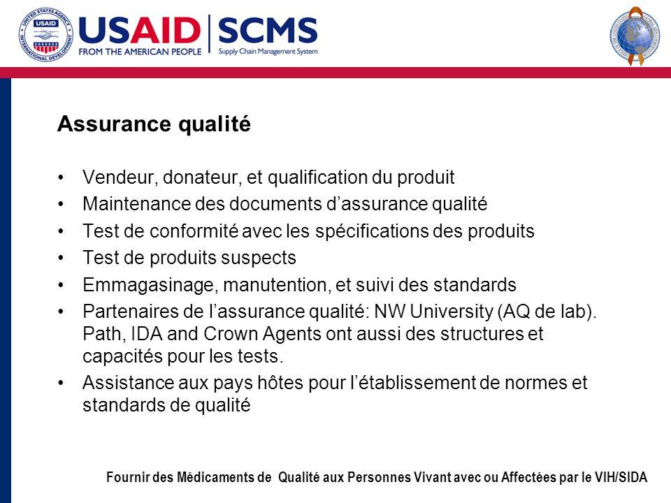 Fournir des Médicaments de Qualité aux Personnes Vivant avec ou Affectées par le VIH/SIDA Assurance qualité Vendeur, donateur, et qualification du pro