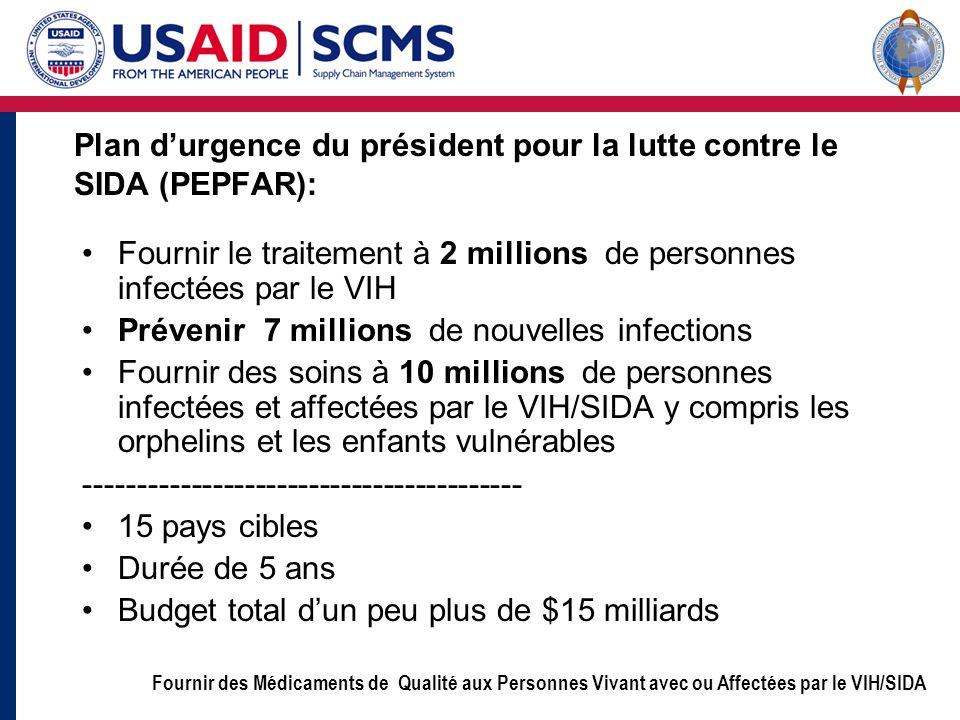 Fournir des Médicaments de Qualité aux Personnes Vivant avec ou Affectées par le VIH/SIDA Plan durgence du président pour la lutte contre le SIDA (PEP