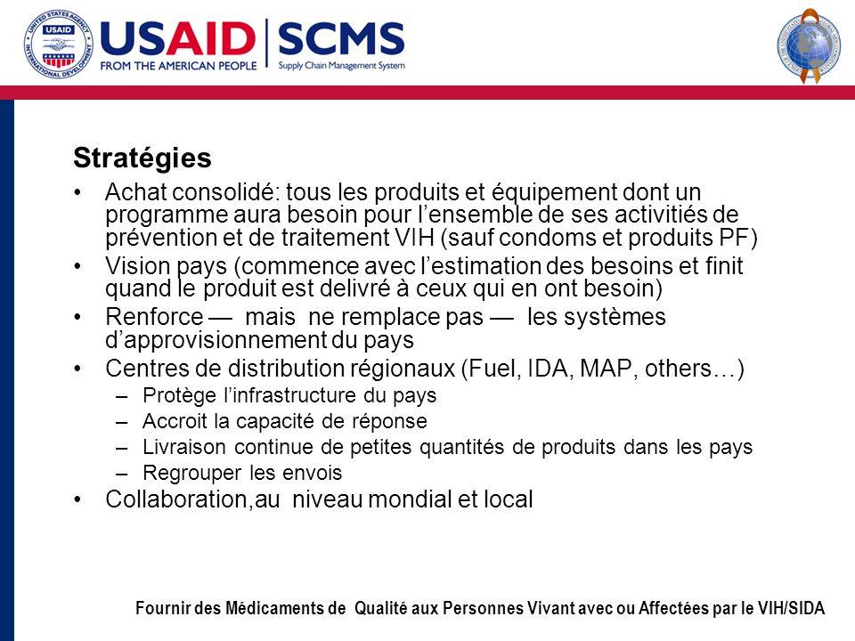 Fournir des Médicaments de Qualité aux Personnes Vivant avec ou Affectées par le VIH/SIDA Stratégies Achat consolidé: tous les produits et équipement