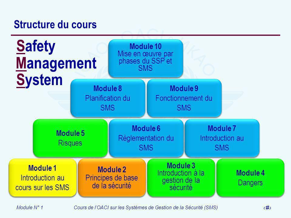 Module N° 1Cours de lOACI sur les Systèmes de Gestion de la Sécurité (SMS) 12 Structure du cours Module 1 SMS course introduction Module 1 SMS course