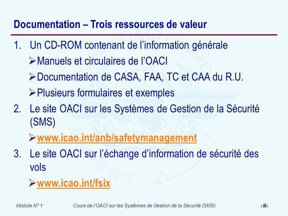 Module N° 1Cours de lOACI sur les Systèmes de Gestion de la Sécurité (SMS) 15 Documentation – Trois ressources de valeur 1.Un CD-ROM contenant de linf