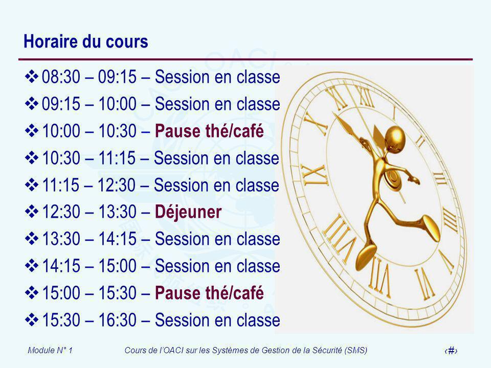 Module N° 1Cours de lOACI sur les Systèmes de Gestion de la Sécurité (SMS) 16 Horaire du cours 08:30 – 09:15 – Session en classe 09:15 – 10:00 – Sessi