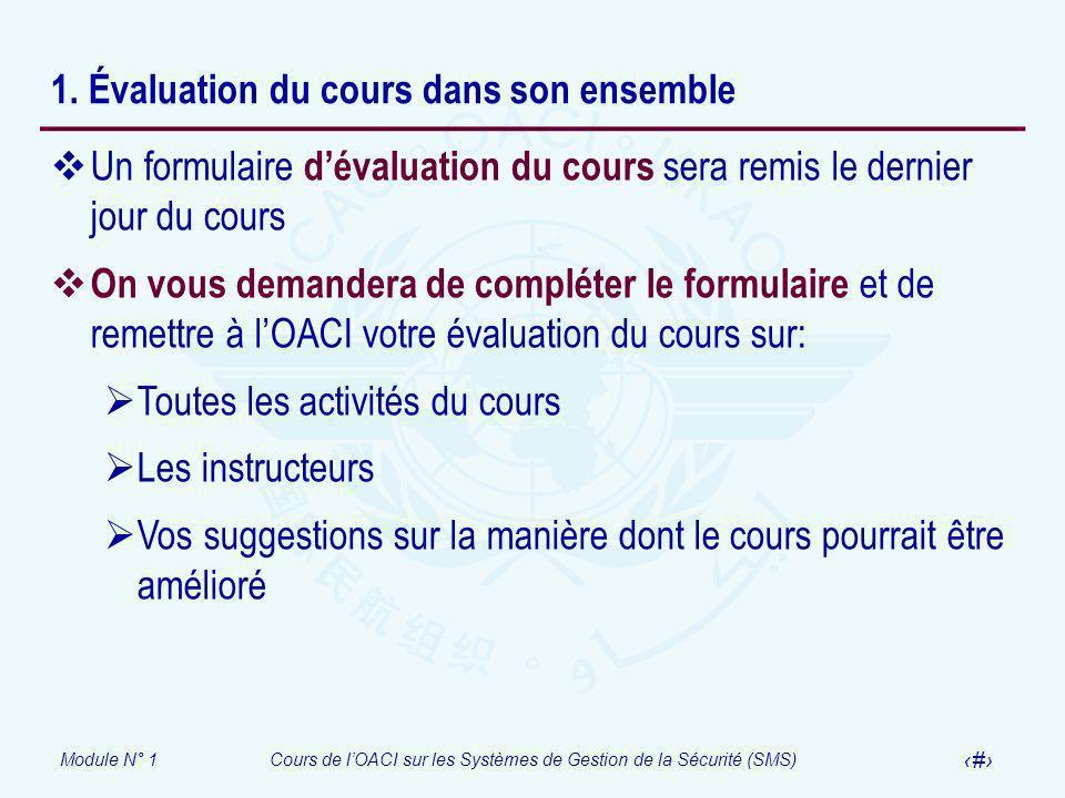 Module N° 1Cours de lOACI sur les Systèmes de Gestion de la Sécurité (SMS) 19 1. Évaluation du cours dans son ensemble Un formulaire dévaluation du co
