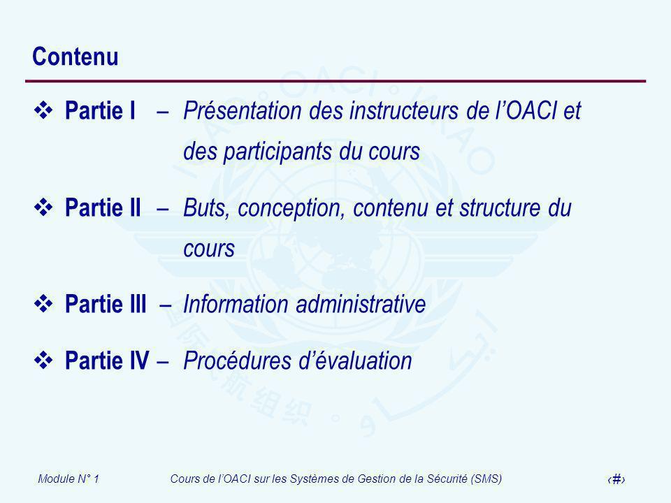 Module N° 1Cours de lOACI sur les Systèmes de Gestion de la Sécurité (SMS) 4 Contenu Partie I – Présentation des instructeurs de lOACI et des particip