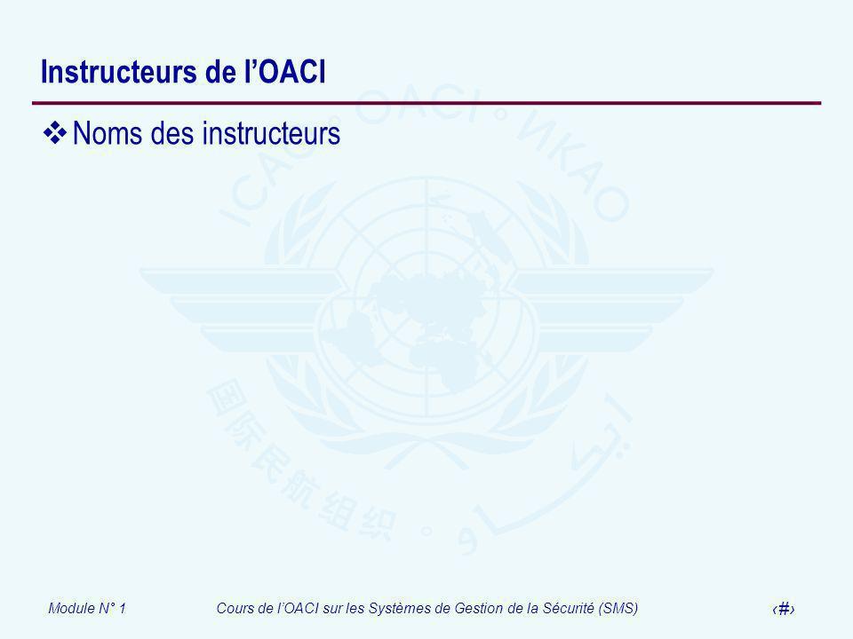 Module N° 1Cours de lOACI sur les Systèmes de Gestion de la Sécurité (SMS) 6 Instructeurs de lOACI Noms des instructeurs