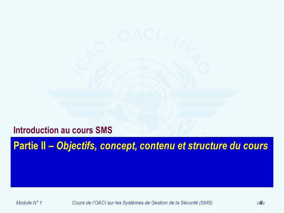 Module N° 1Cours de lOACI sur les Systèmes de Gestion de la Sécurité (SMS) 8 Partie II – Objectifs, concept, contenu et structure du cours Introductio