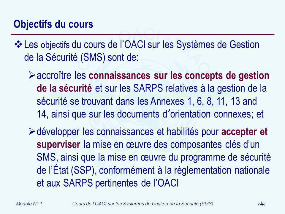Module N° 1Cours de lOACI sur les Systèmes de Gestion de la Sécurité (SMS) 9 Objectifs du cours Les objectifs du cours de lOACI sur les Systèmes de Ge