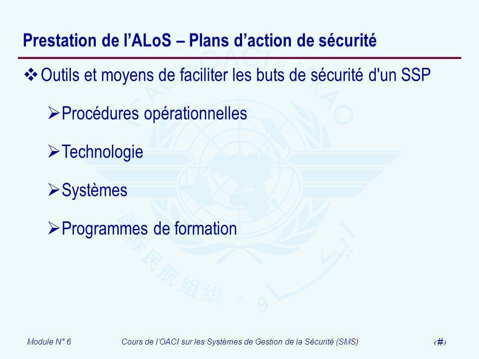 Module N° 6Cours de lOACI sur les Systèmes de Gestion de la Sécurité (SMS) 11 Prestation de lALoS – Plans daction de sécurité Outils et moyens de faci