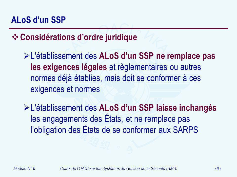 Module N° 6Cours de lOACI sur les Systèmes de Gestion de la Sécurité (SMS) 13 ALoS dun SSP Considérations dordre juridique L'établissement des ALoS du