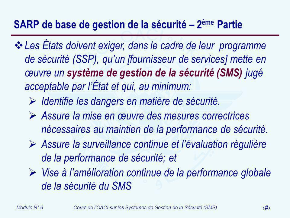 Module N° 6Cours de lOACI sur les Systèmes de Gestion de la Sécurité (SMS) 17 SARP de base de gestion de la sécurité – 2 ème Partie Les États doivent