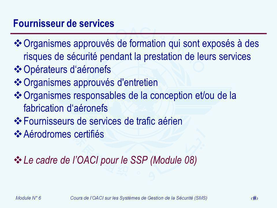 Module N° 6Cours de lOACI sur les Systèmes de Gestion de la Sécurité (SMS) 18 Fournisseur de services Organismes approuvés de formation qui sont expos