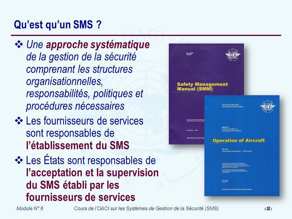 Module N° 6Cours de lOACI sur les Systèmes de Gestion de la Sécurité (SMS) 19 Quest quun SMS ? Une approche systématique de la gestion de la sécurité