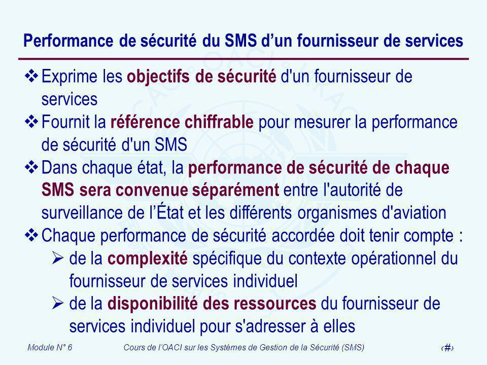 Module N° 6Cours de lOACI sur les Systèmes de Gestion de la Sécurité (SMS) 20 Performance de sécurité du SMS dun fournisseur de services Exprime les o