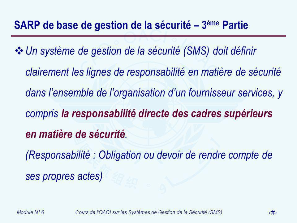 Module N° 6Cours de lOACI sur les Systèmes de Gestion de la Sécurité (SMS) 25 SARP de base de gestion de la sécurité – 3 ème Partie Un système de gest
