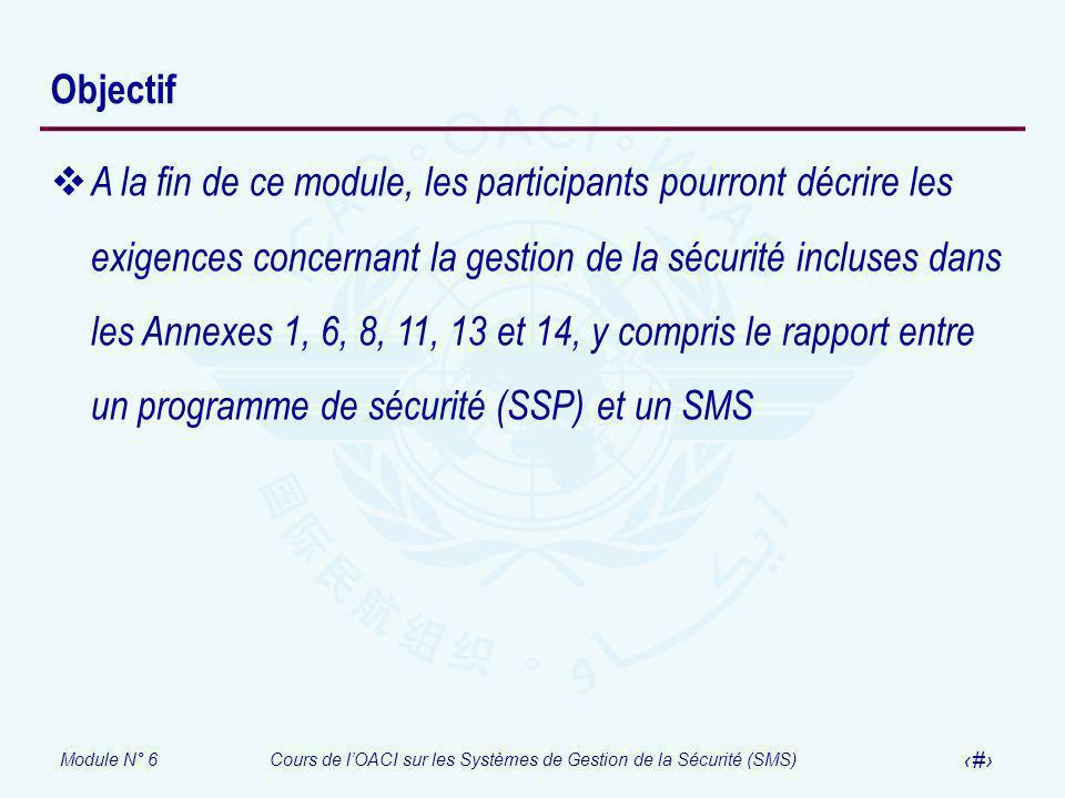 Module N° 6Cours de lOACI sur les Systèmes de Gestion de la Sécurité (SMS) 3 Objectif A la fin de ce module, les participants pourront décrire les exi