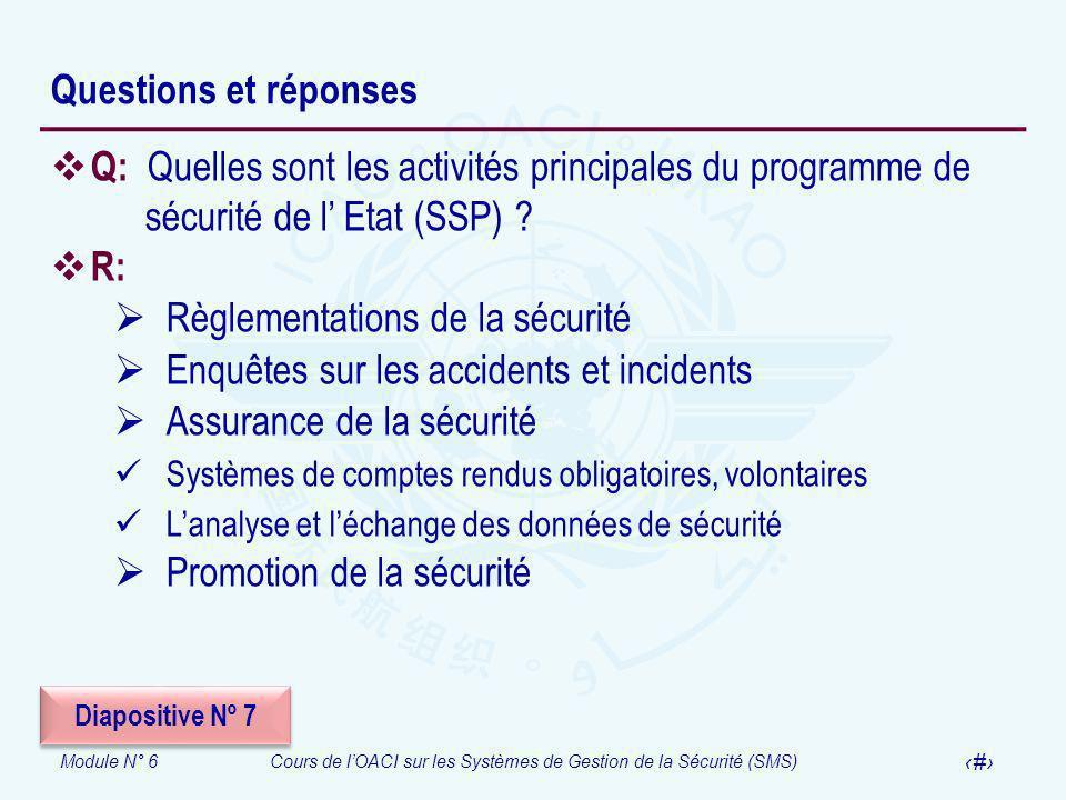 Module N° 6Cours de lOACI sur les Systèmes de Gestion de la Sécurité (SMS) 32 Questions et réponses Q: Quelles sont les activités principales du progr