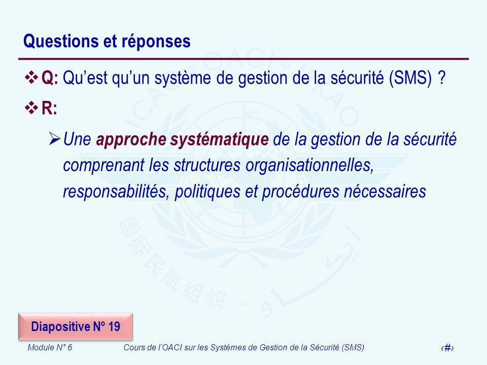 Module N° 6Cours de lOACI sur les Systèmes de Gestion de la Sécurité (SMS) 33 Questions et réponses Q: Quest quun système de gestion de la sécurité (S