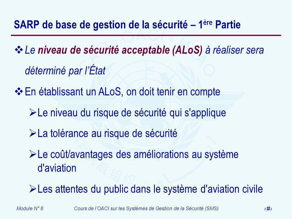 Module N° 6Cours de lOACI sur les Systèmes de Gestion de la Sécurité (SMS) 8 SARP de base de gestion de la sécurité – 1 ère Partie Le niveau de sécuri
