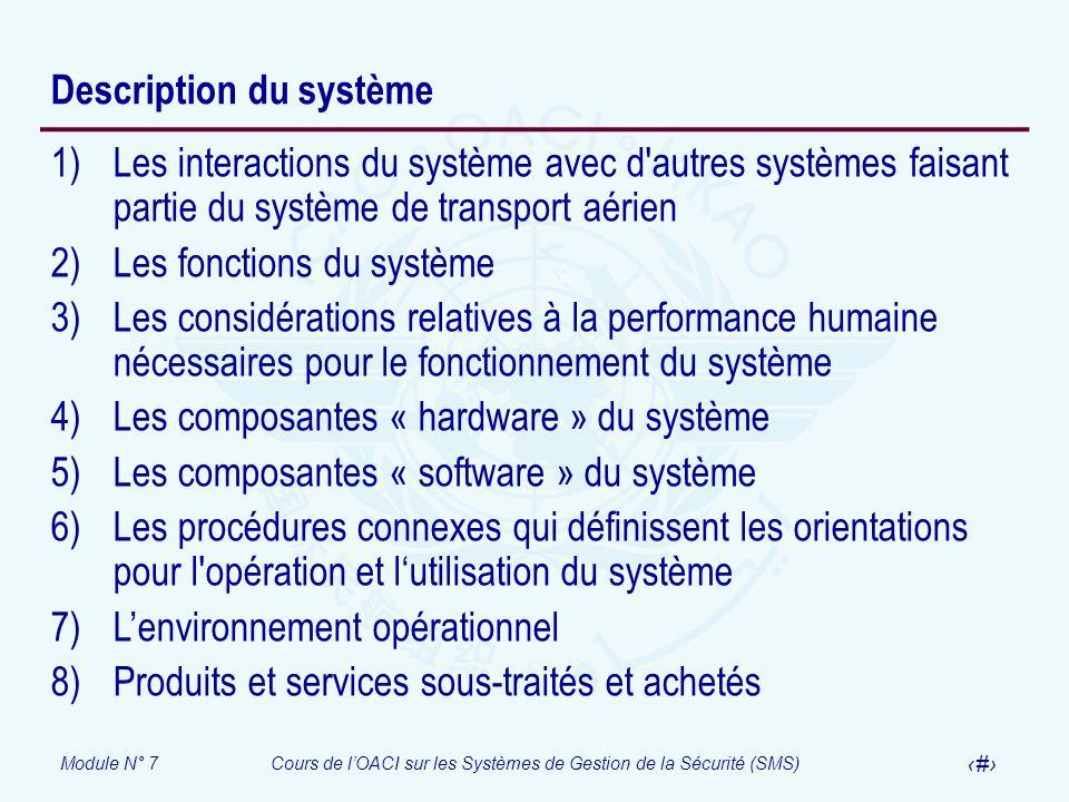 Module N° 7Cours de lOACI sur les Systèmes de Gestion de la Sécurité (SMS) 12 Description du système 1)Les interactions du système avec d'autres systè