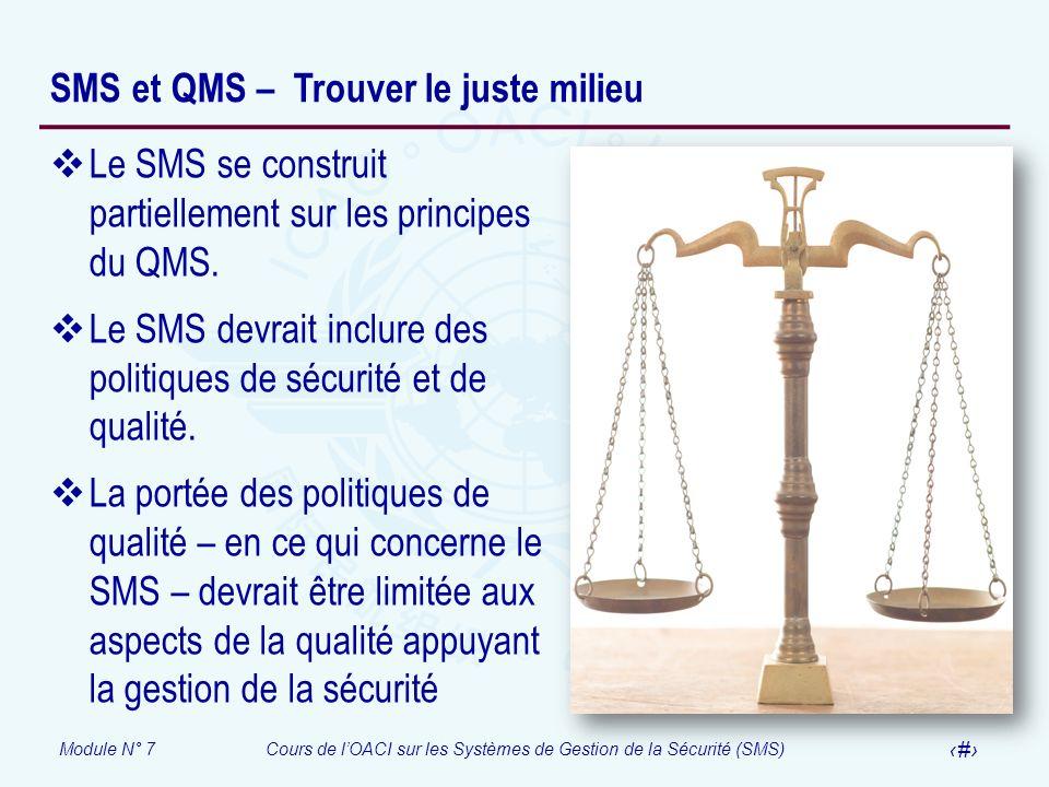 Module N° 7Cours de lOACI sur les Systèmes de Gestion de la Sécurité (SMS) 16 SMS et QMS – Trouver le juste milieu Le SMS se construit partiellement s