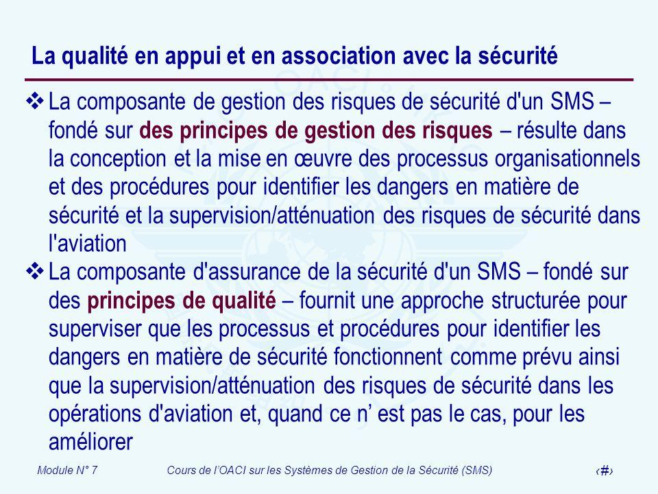 Module N° 7Cours de lOACI sur les Systèmes de Gestion de la Sécurité (SMS) 17 La qualité en appui et en association avec la sécurité La composante de