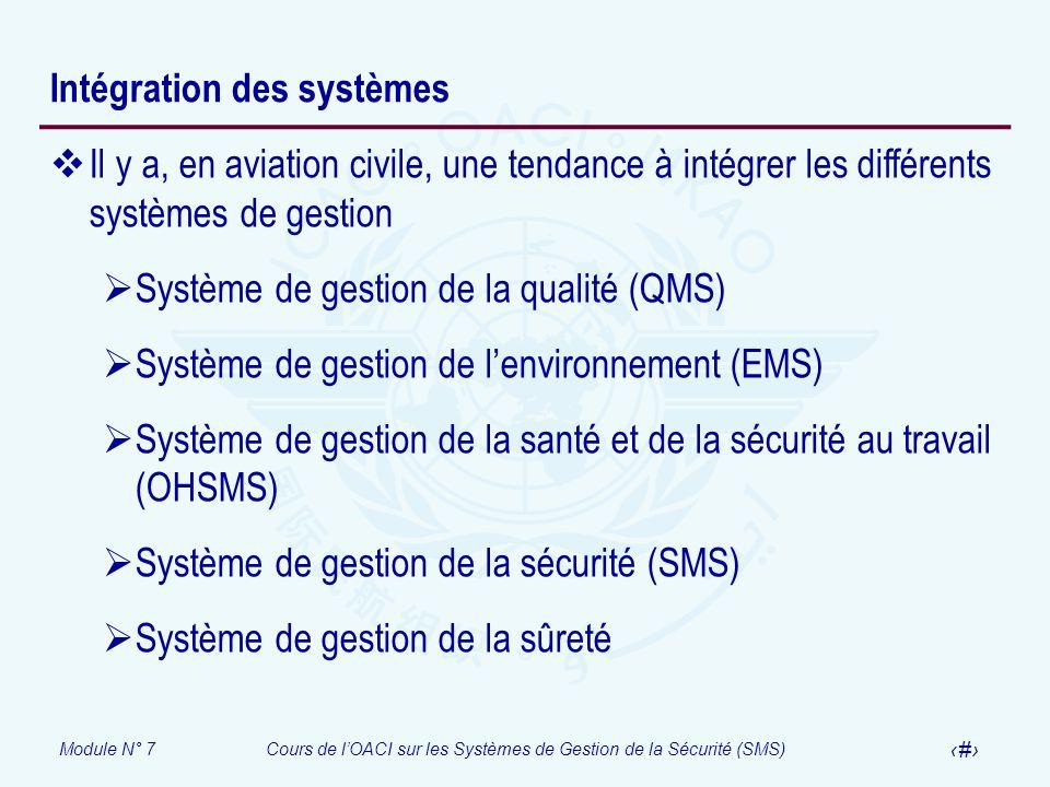 Module N° 7Cours de lOACI sur les Systèmes de Gestion de la Sécurité (SMS) 18 Intégration des systèmes Il y a, en aviation civile, une tendance à inté