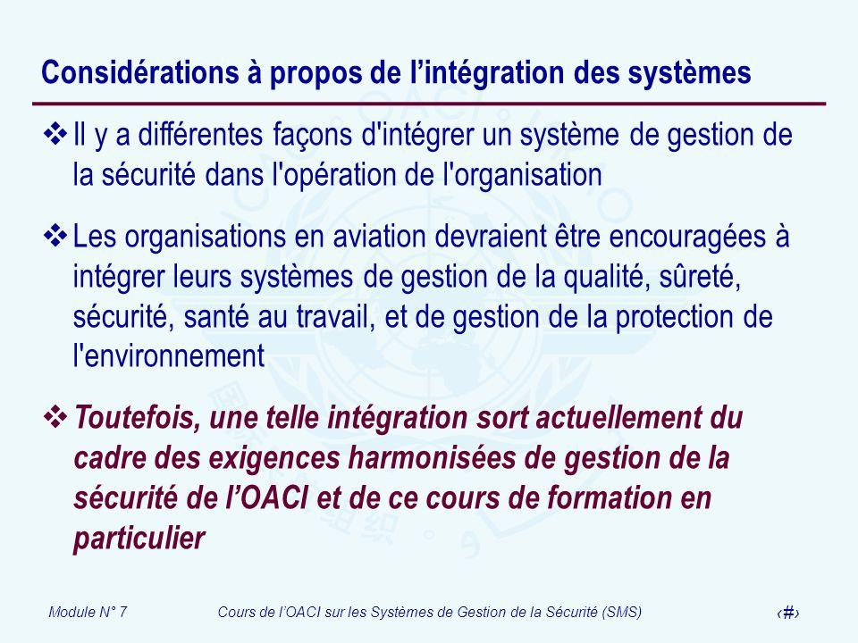 Module N° 7Cours de lOACI sur les Systèmes de Gestion de la Sécurité (SMS) 20 Considérations à propos de lintégration des systèmes Il y a différentes