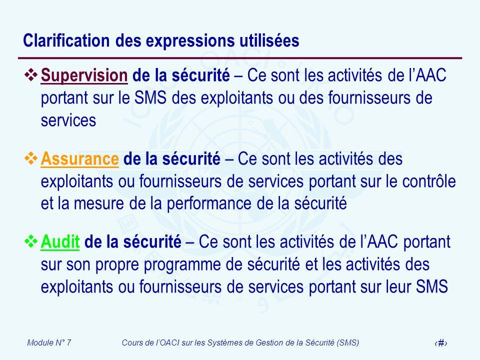Module N° 7Cours de lOACI sur les Systèmes de Gestion de la Sécurité (SMS) 21 Clarification des expressions utilisées Supervision de la sécurité – Ce