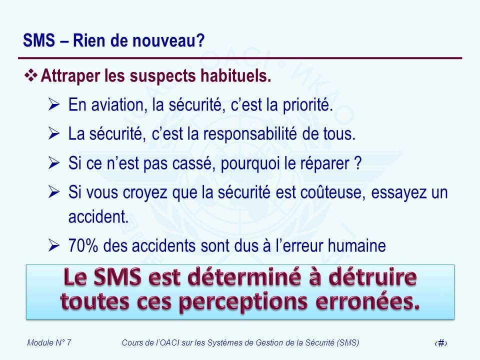Module N° 7Cours de lOACI sur les Systèmes de Gestion de la Sécurité (SMS) 22 SMS – Rien de nouveau? Attraper les suspects habituels. En aviation, la