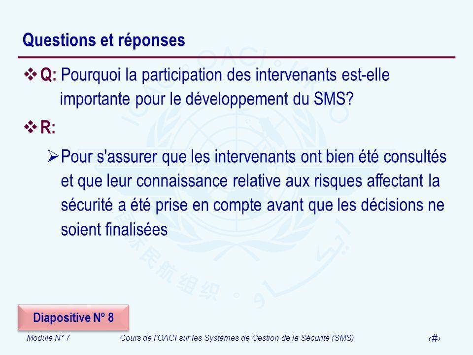Module N° 7Cours de lOACI sur les Systèmes de Gestion de la Sécurité (SMS) 24 Questions et réponses Q: Pourquoi la participation des intervenants est-
