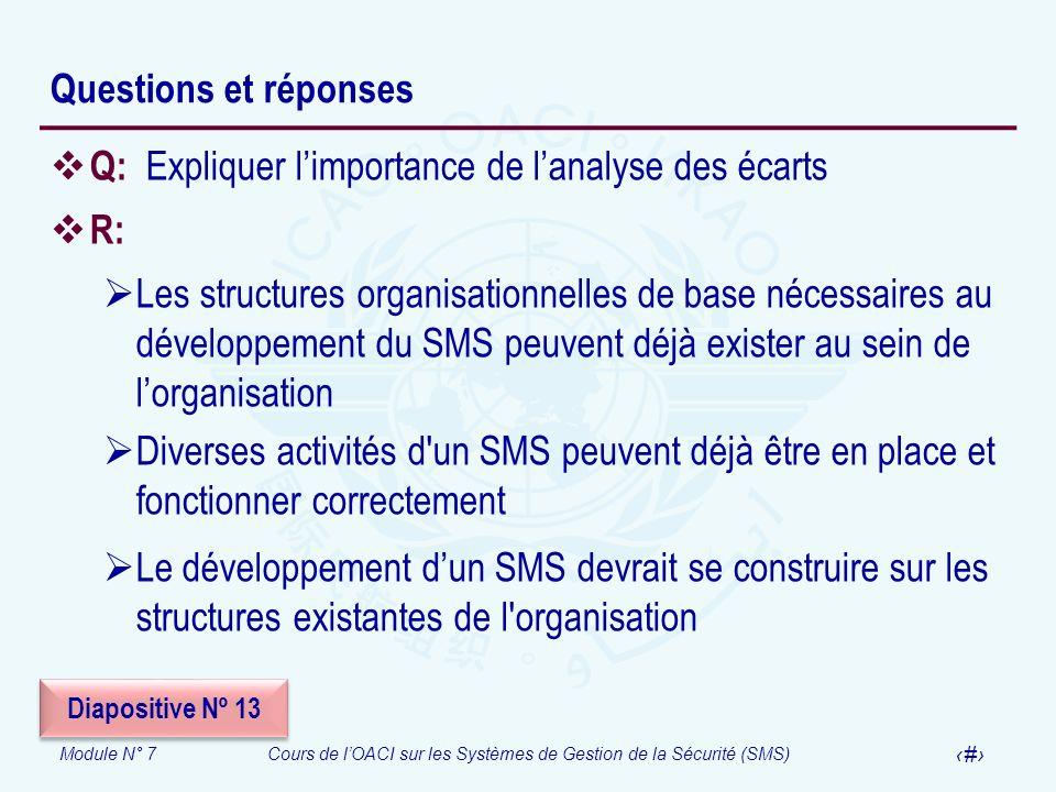 Module N° 7Cours de lOACI sur les Systèmes de Gestion de la Sécurité (SMS) 25 Questions et réponses Q: Expliquer limportance de lanalyse des écarts R: