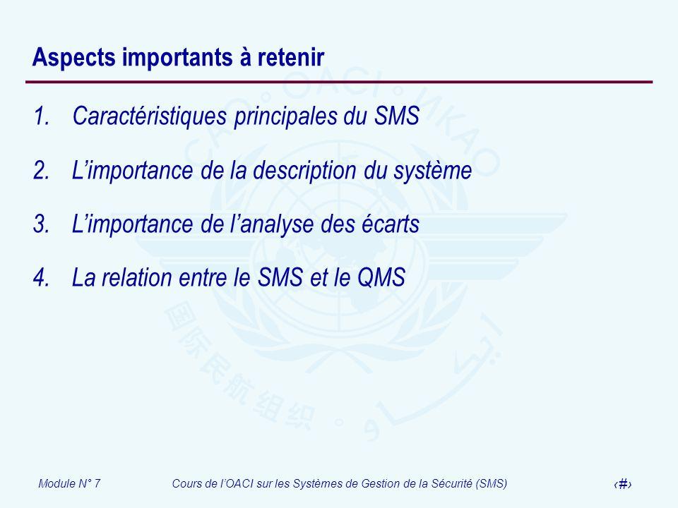Module N° 7Cours de lOACI sur les Systèmes de Gestion de la Sécurité (SMS) 27 Aspects importants à retenir 1.Caractéristiques principales du SMS 2.Lim