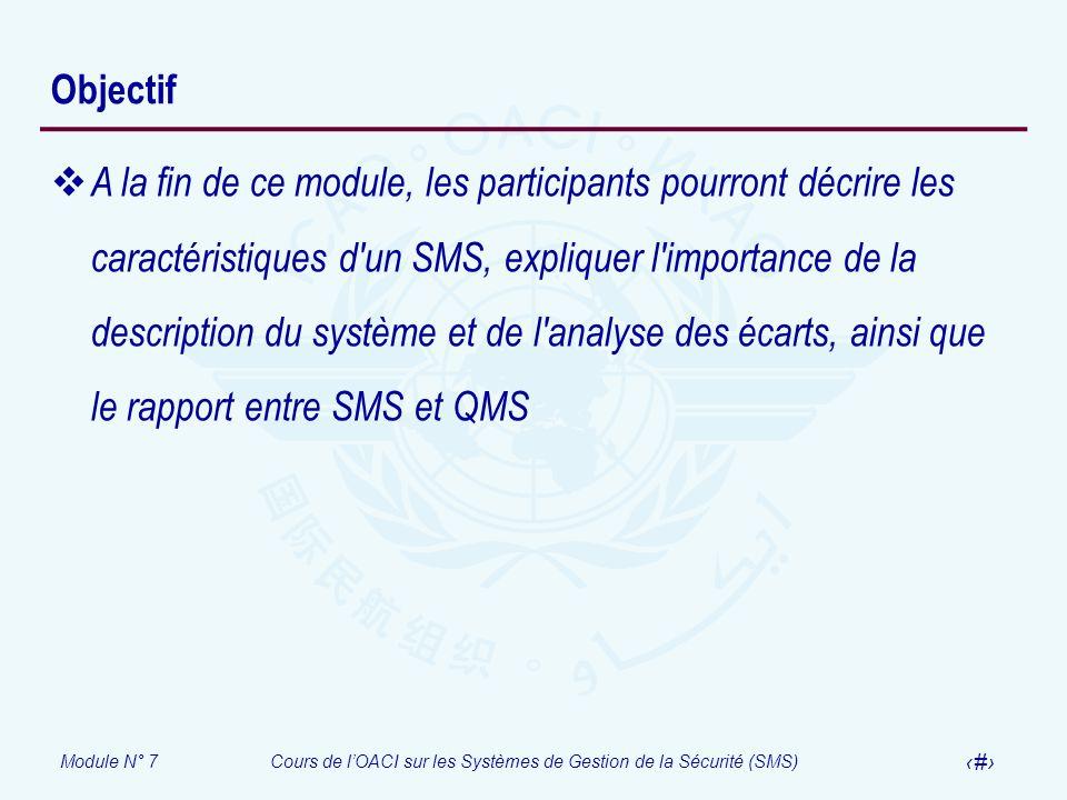 Module N° 7Cours de lOACI sur les Systèmes de Gestion de la Sécurité (SMS) 3 Objectif A la fin de ce module, les participants pourront décrire les car