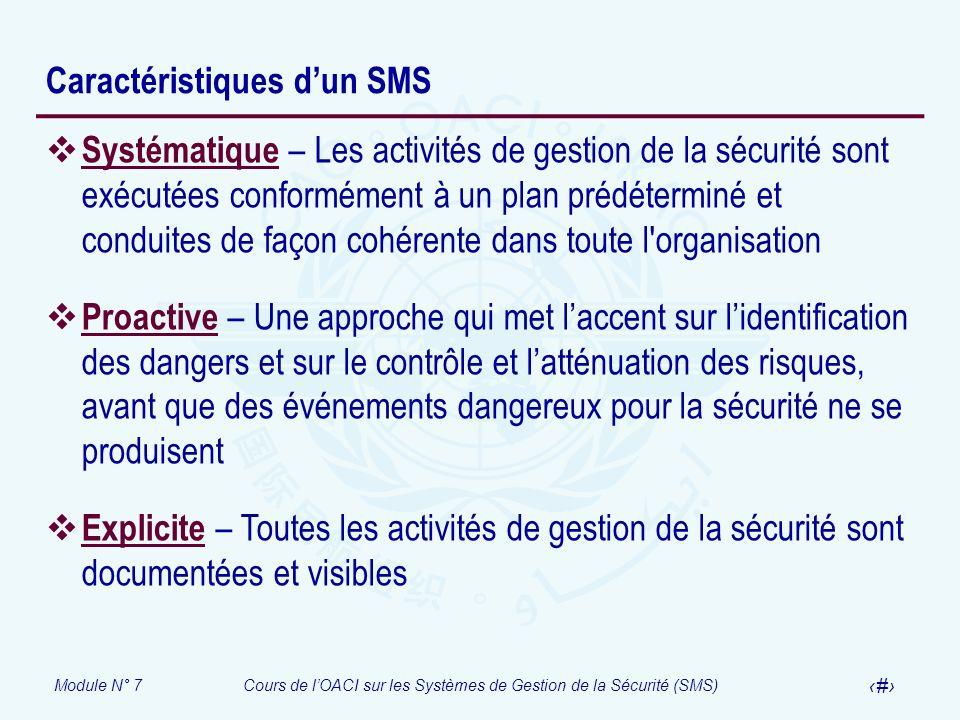 Module N° 7Cours de lOACI sur les Systèmes de Gestion de la Sécurité (SMS) 9 Caractéristiques dun SMS Systématique – Les activités de gestion de la sé