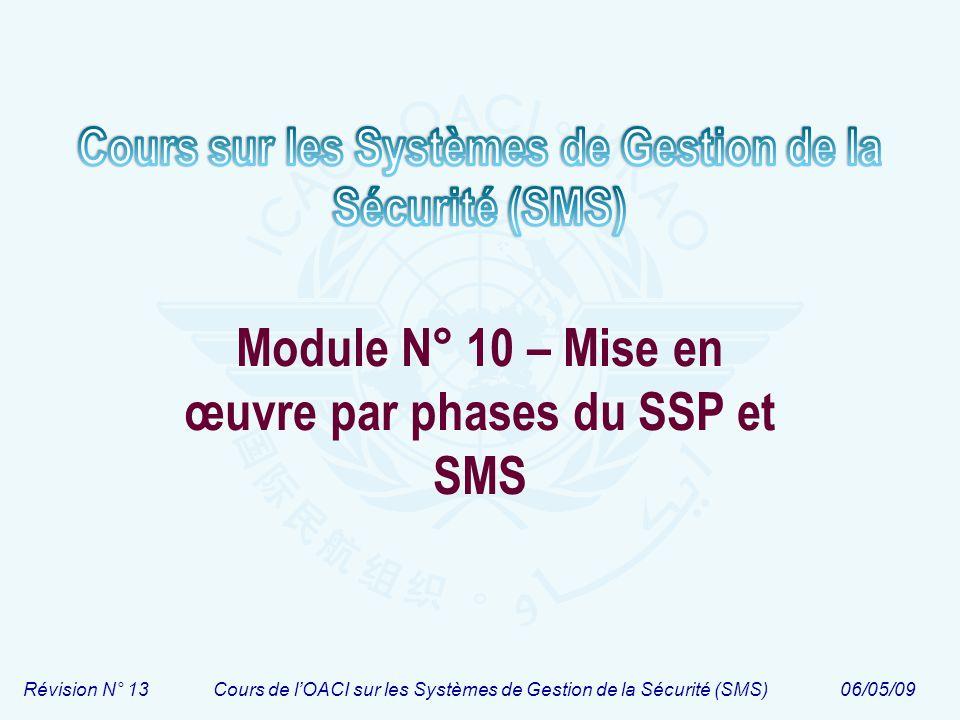 Révision N° 13Cours de lOACI sur les Systèmes de Gestion de la Sécurité (SMS)06/05/09 Module N° 10 – Mise en œuvre par phases du SSP et SMS