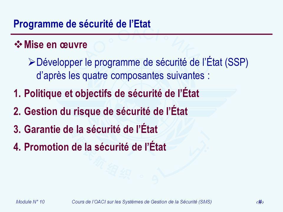 Module N° 10Cours de lOACI sur les Systèmes de Gestion de la Sécurité (SMS) 15 Programme de sécurité de lEtat Mise en œuvre Développer le programme de