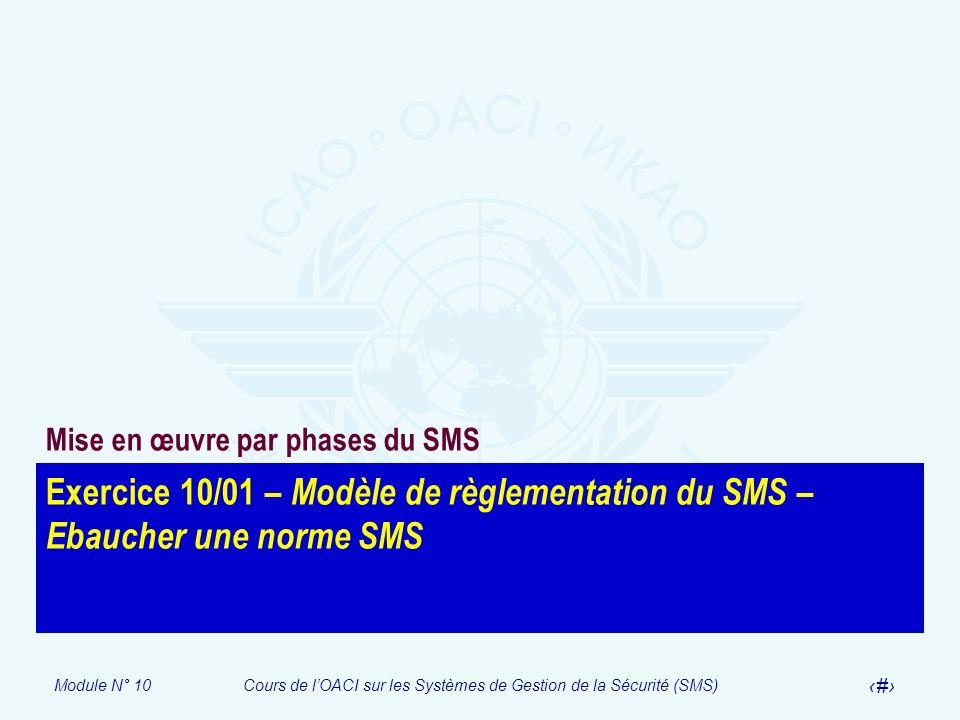 Module N° 10Cours de lOACI sur les Systèmes de Gestion de la Sécurité (SMS) 23 Exercice 10/01 – Modèle de règlementation du SMS – Ebaucher une norme S
