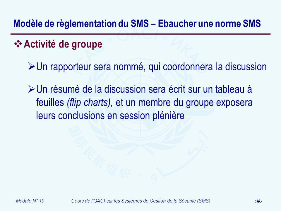 Module N° 10Cours de lOACI sur les Systèmes de Gestion de la Sécurité (SMS) 24 Modèle de règlementation du SMS – Ebaucher une norme SMS Activité de gr