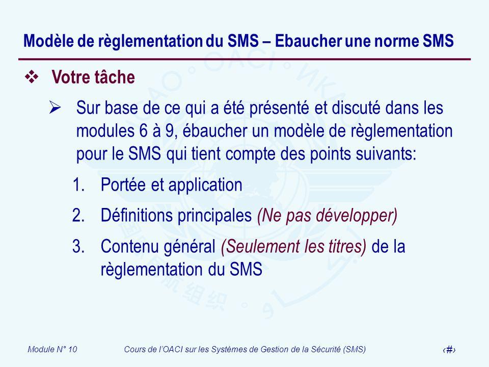 Module N° 10Cours de lOACI sur les Systèmes de Gestion de la Sécurité (SMS) 25 Modèle de règlementation du SMS – Ebaucher une norme SMS Votre tâche Su