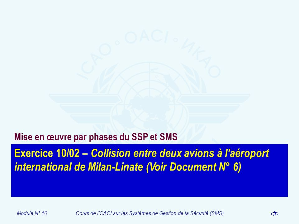 Module N° 10Cours de lOACI sur les Systèmes de Gestion de la Sécurité (SMS) 26 Exercice 10/02 – Collision entre deux avions à laéroport international