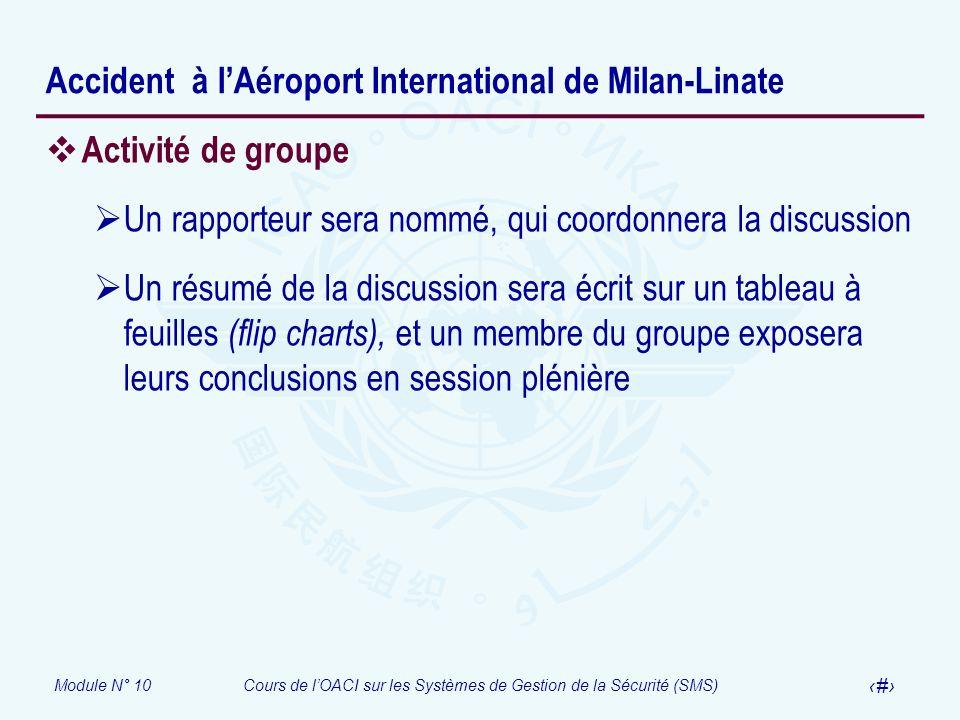 Module N° 10Cours de lOACI sur les Systèmes de Gestion de la Sécurité (SMS) 27 Accident à lAéroport International de Milan-Linate Activité de groupe U