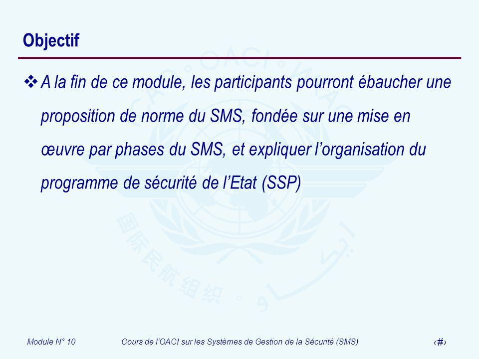 Module N° 10Cours de lOACI sur les Systèmes de Gestion de la Sécurité (SMS) 3 Objectif A la fin de ce module, les participants pourront ébaucher une p